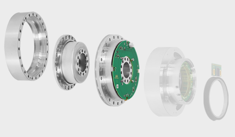 Der drehmomentgeregelte Antrieb SENSO-Joint besteht aus Drehmomentsensor, Harmonic Drive® Getriebe und abtriebsseitiger Lagerung - the torque controlled drive SENSO-Unit consists of a torque sensor, a Harmonic Drive® gearbox and an output bearing