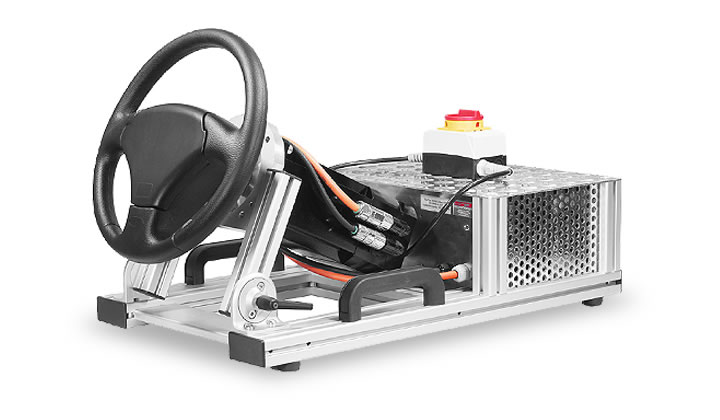 Der Force-Feedback Lenkradsimulator SENSO-Wheel HT mit Tischgestell - the force feedback steering wheel simulator SENSO-Wheel HT with a tabletop rack